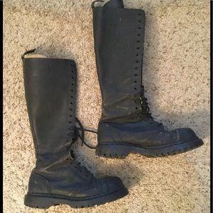 GRIPFAST VINTAGE 20HOLE BLACK LEATHER COMBAT BOOTS